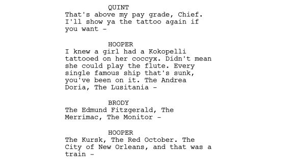 """All That Jaws"" script snippet by Marty Barrett"